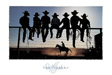 THE LESSON PRINT BY DAVID STOECKLEIN western cowboys rodeo fence 36X24 poster
