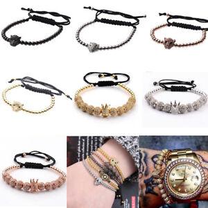 Competent 1 Crown 10 Pieces Zircon Balls Hand-woven Diy Men's 4mm Copper Beads Bracelets Bracelets Charms & Charm Bracelets