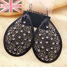 LARGE 8cm BLACK FILIGREE EARRINGS rhinestone jewelled BIG TEARDROP enamel metal