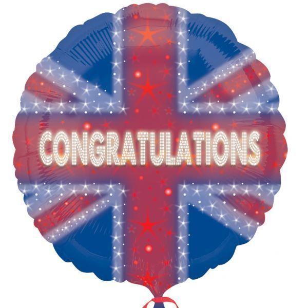 Great Britain Union Jack Foil Balloon CONGRATULATIONS Royal Wedding Decoration