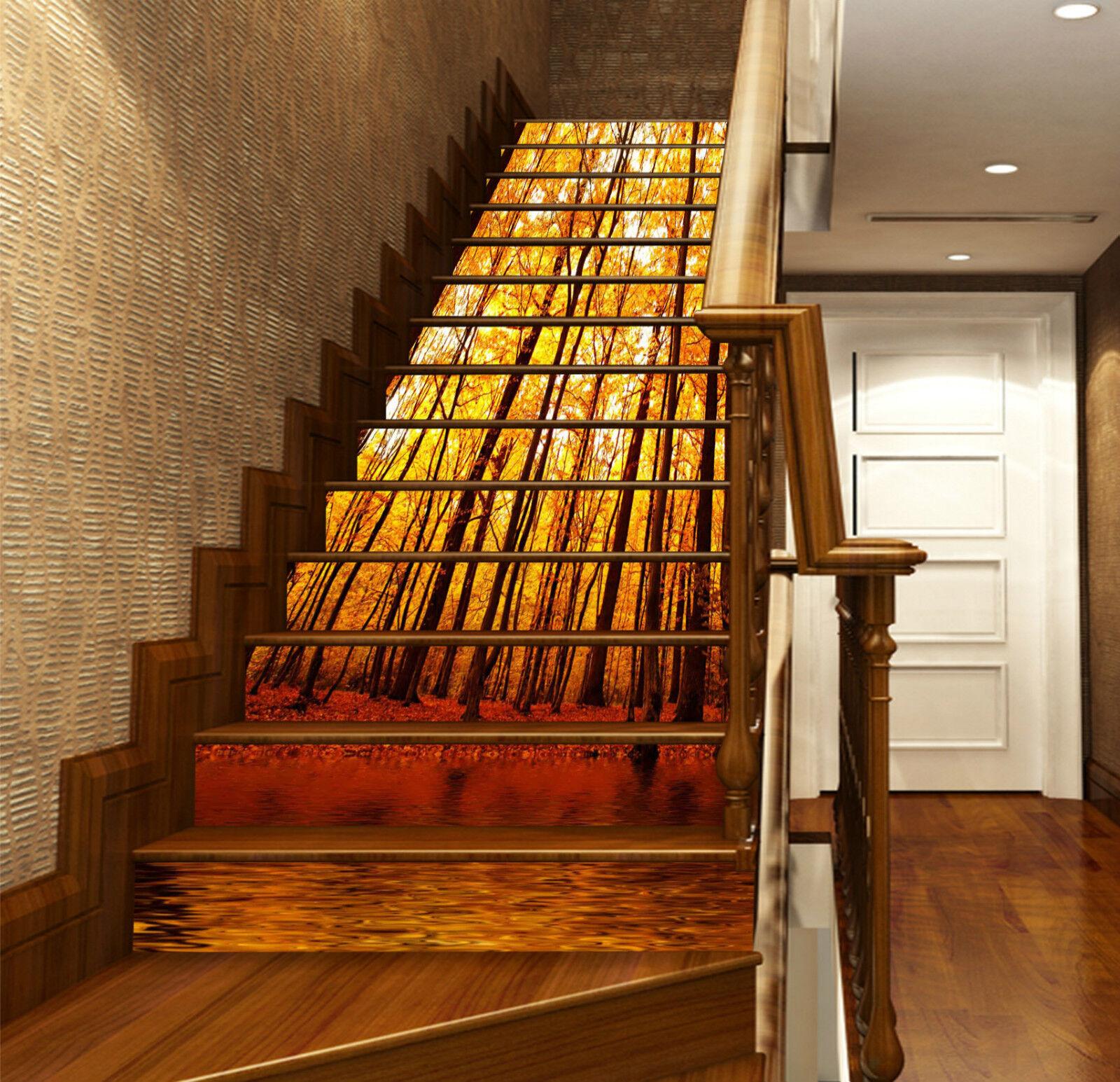3D Holz Natur 6154 Stair Risers Dekoration Fototapete Vinyl Aufkleber Tapete DE