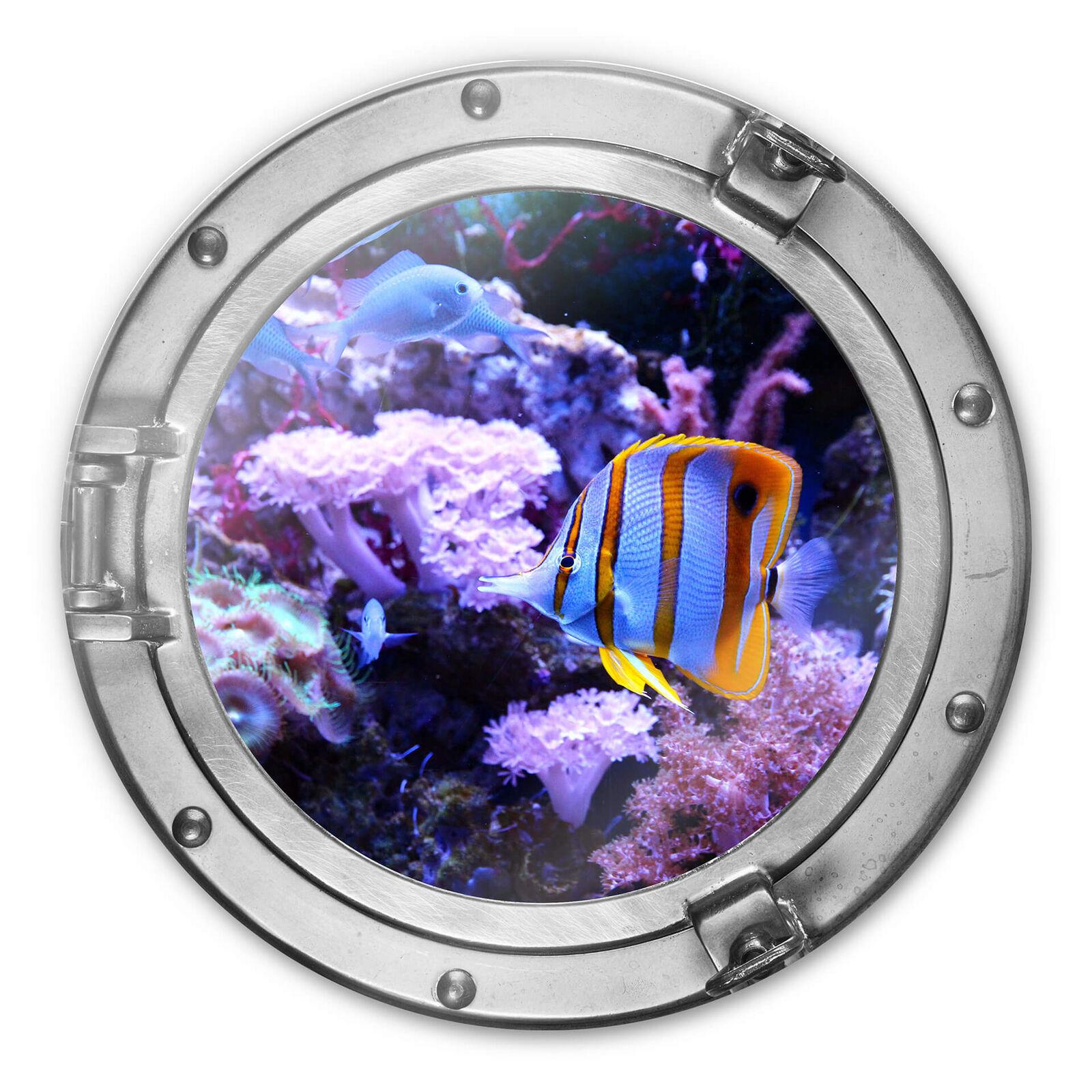 Immagine di vetro tondo 3d-ottica oblò-Coloreeeato mondo subacqueo-CORALLO VIOLA