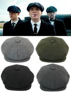 Mens Tweed Newsboy Cap Peaky Blinders Baker Boy Flat Grandad Hat 8 ... c150af6d484