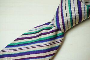 Turnbull & Asser Light Taupe Mint Green Purple Striped Silk Handmade Tie