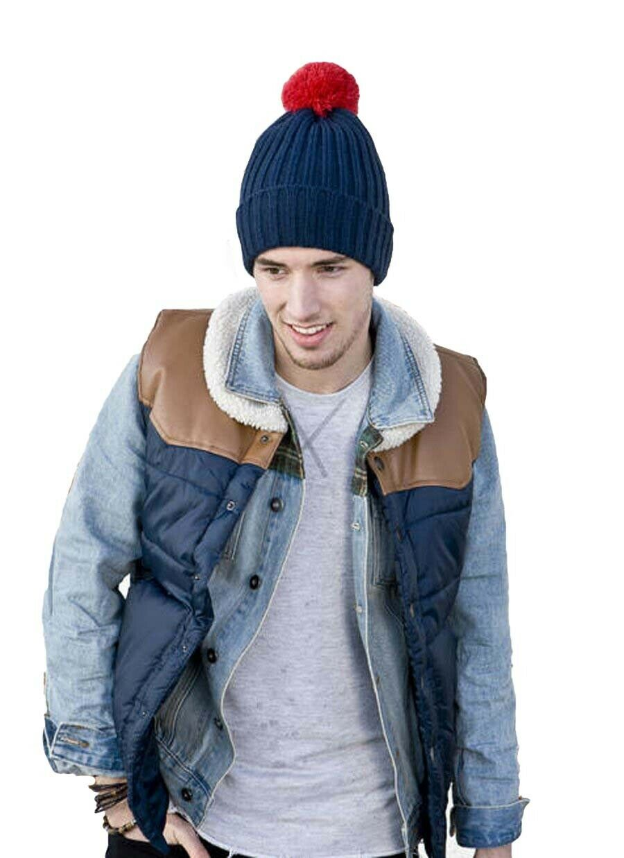 Men Contrast Bobble Winter Thermal Ski Hat with Turnup Cuff