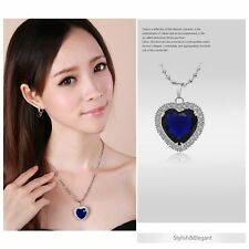9K White Gold Plated Blue Heart of the Ocean Titanic Pendant Fit Chain Necklace