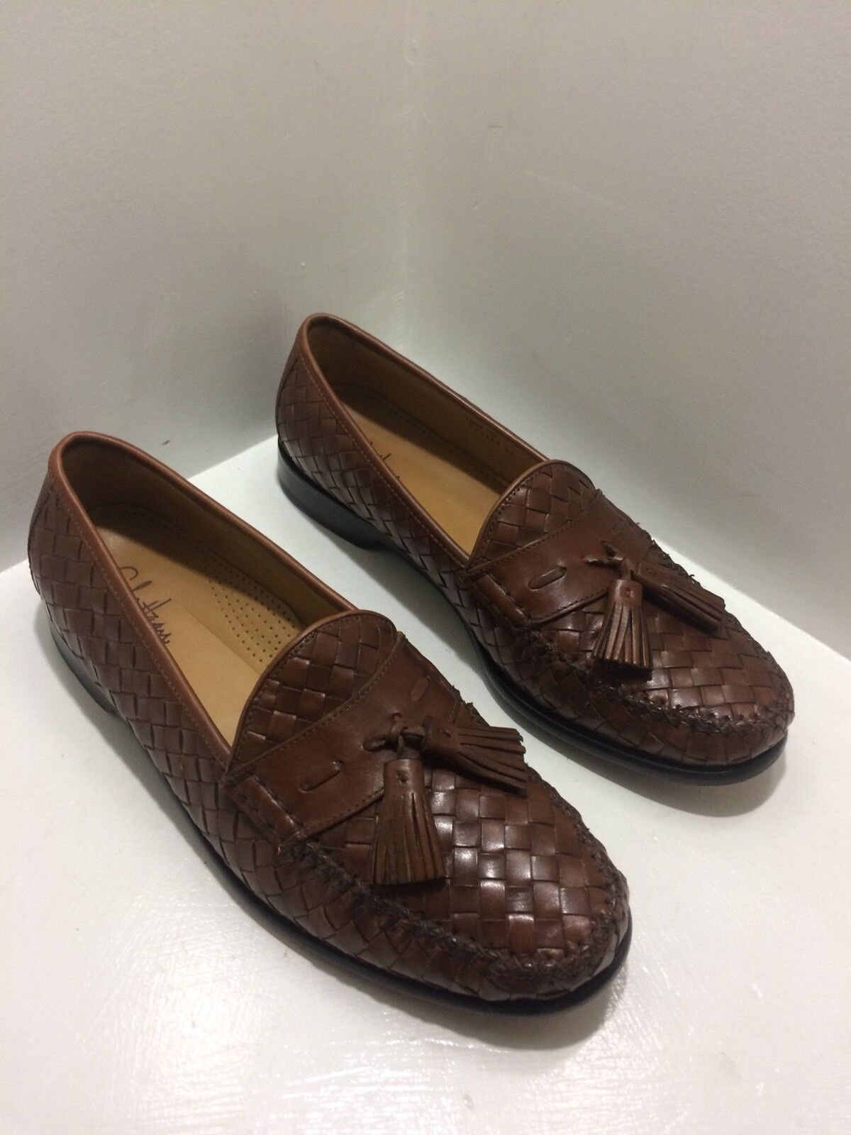 COLE HAAN Men's Cognac Leather Woven Tassel Loafers Size 11M