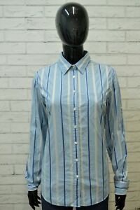 GANT-Donna-Camicia-Camicetta-Taglia-M-Maglia-T-Shirt-Righe-Celeste-Cotone-Woman