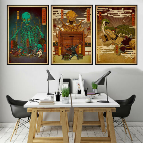 Japanese Green Skull Canvas Print Poster Bedroom Living Room Decor Home Picture