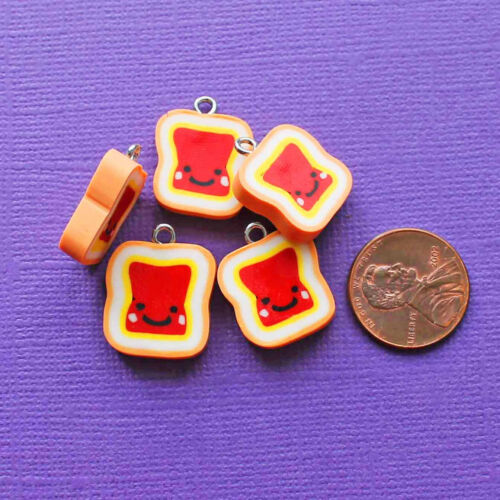 E265 5 Jelly Charms Cute Peanut Butter and Jelly Polymer Clay