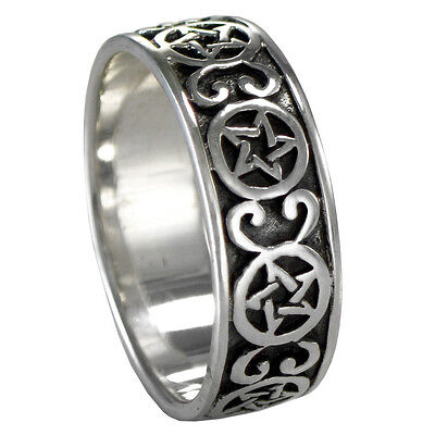 Large Goddess Love Ring SS Sterling Silver Heart Wiccan Pagan sz 4-15 Gaia Venus