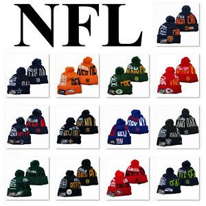 Rimovibile-Pom-Caldo-Lavorato-a-Maglia-ricamato-NFL-FOOTBALL-tutti-i-team-Cappello-Beanie-Unisex