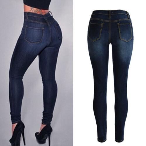 Damen High Waist Röhrenjeans Hochbund Skinny Slim Denim Hose Jeanshose Jeggings