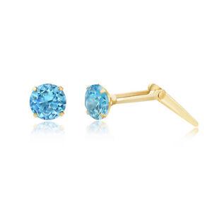9ct yellow gold 5mm aqua cubic zirconia cz Andralok stud earrings / gift box LjNOQpv