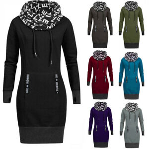 Plus-Size-Womens-Ladies-Long-Sleeve-Letter-Print-Collar-Hooded-Casual-Dress-P