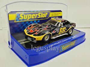 Slot-Car-Scalextric-Superslot-H4107-Chevrolet-Corvette-No-66-Flames