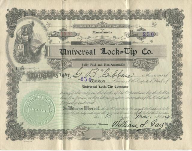 Universal Lock=Tip Co. stock certificate