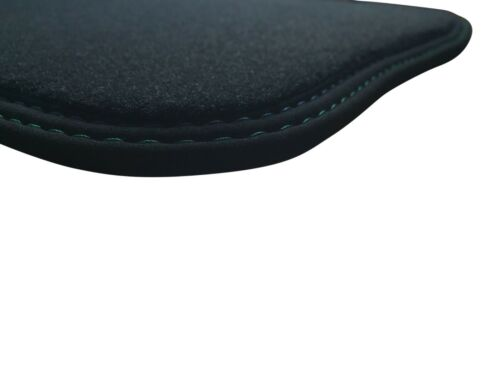 Fußmatten für BMW 6er E24 in Velours anthrazit Deluxe mit Doppelnaht blau-grün