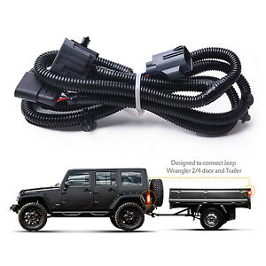 mictuning 65 2007 2017 jeep wrangler jk 4 way trailer tow hitch rh ebay com 2013 jeep wrangler trailer hitch wiring harness 2016 jeep patriot trailer hitch wiring harness