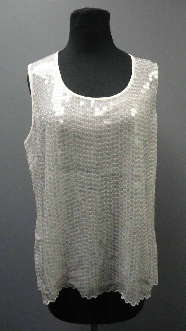 ST. JOHN Weiß Sleeveless Scoop Neck Sequin Blouse Top NWT Sz 12 GG3723
