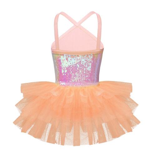 Kids Toddler Girls Ballet Leotard Tutu Dress Sequins Sleeveless Party Dancewear