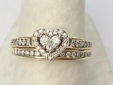 Heart Shape 1/2ct Diamonds Ring Set Bridal Engagement Wedding Band Yellow Gold