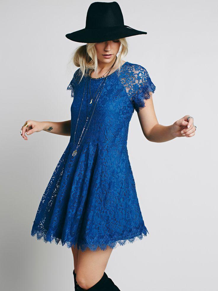 New Free People Stardust Lace Mini Dress Size M  128 bluee