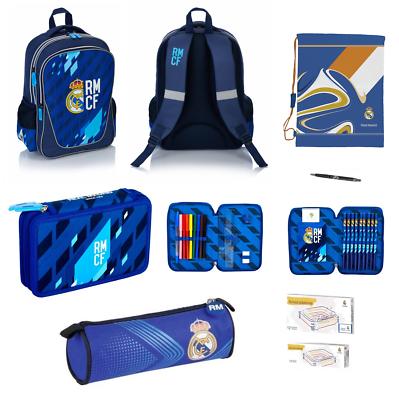 Affidabile Real Madrid Scuola Zaino Cartella Scuola + Astuccio Con Accessori + Sacchetto Sc