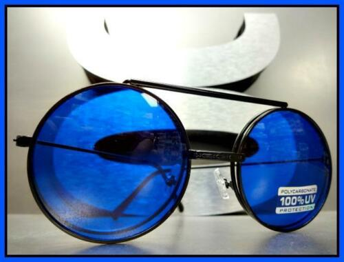 Classic Vintage 60/'s Retro Style Round Flip Up SUN GLASSES Black Frame Blue Lens
