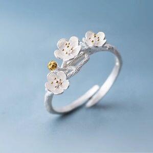 925-Sterlingsilber-Damen-Ring-Kirschbluete-Blume-Bluete-Cherry-Silber-Verstellbar