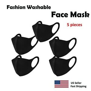 5-pack-Black-Face-Mask-Washable-Reusable-Unisex-Free-Same-Day-Shipping