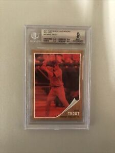 Mike Trout BGS 9 Mint 2011 Topps Heritage Minors Red Tint Rookie #/620 RC SSP