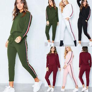 2Pcs Womens Tracksuit Hoodies Pants Set Lounge Wear Sport Gym Suit Plus Size UK