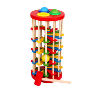 Wooden Toy Educational Knock the Ball off the Ladder Toys Gift for Kids Baby