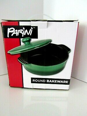Nonstick Bakeware/casserole Initiative Parini Ceramic Green With Lid Round New In Box 100% High Quality Materials