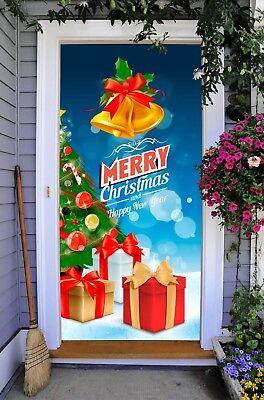 Christmas Door Covers.Christmas Gift Door Decor Banner Outdoor Murals Holiday Front Door Cover On37 Ebay