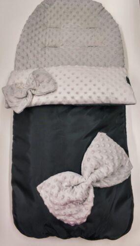 Bows Waterproof fleece cosytoes footmuff Fits Most Prams UK Made Grey Dimples