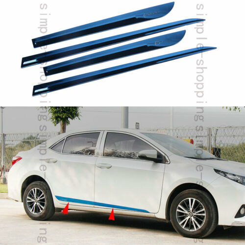 4X Blue Stainless Body Door Side Molding trim Cover For Toyota Corolla 14-16