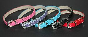 Plain-Soft-Leather-Dog-Puppy-Collars-w-Crystal-Buckles-5-Colours-30-amp-38cm