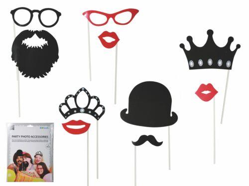 Party Foto Verkleidung Maske auf Stab 17er Set Karneval Fasching Selfie »Life«