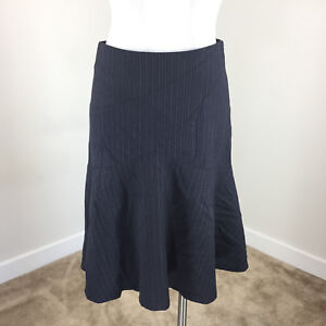 Rebecca Taylor S 6 Navy Blue Pinstripe Wool A Line Flounce