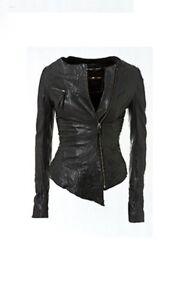 7a1933991 Detalles acerca de Kate Moss For Topshop Asimétrico cremallera chaqueta sin  cuello de cuero negro 10 38 US6- mostrar título original