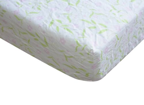 100% Cotton Fitted Crib Sheet, Pink Flowers