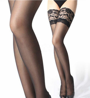 Fashion Fancy Women Sexy Lace Top Stay Up Thigh-Highs Long Stocking Tights Black