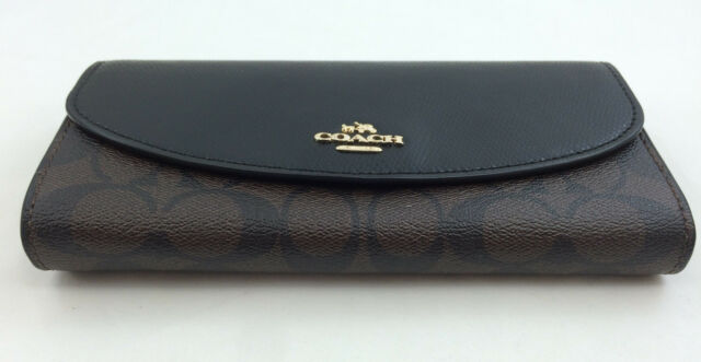 size 40 10f20 1eaa2 New Authentic Coach F54022 Signature PVC/Leather Slim Envelop Wallet Brown  Black