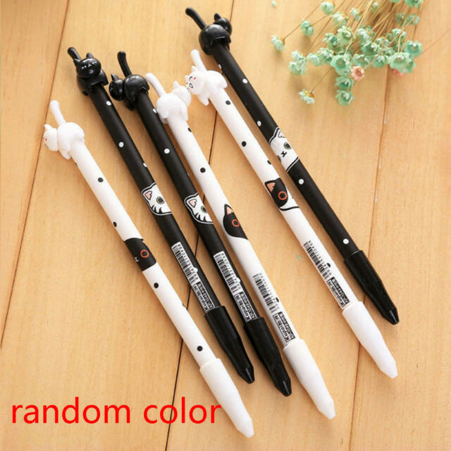 2Pcs Cute Kawaii Cat Black Gel Ink Roller Ball Point Pen Korean School Kid-Pens