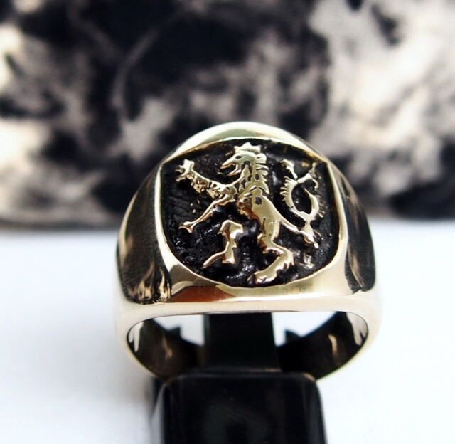 Men's Lion Shield Ring  Rampart Crest Coat of Arms Medieval Knights Christian