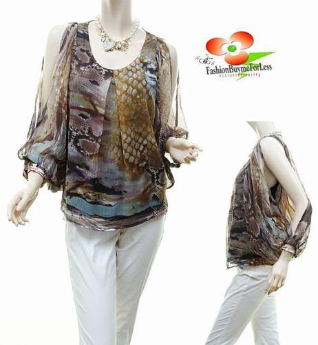 Celebrity Women Python Faux Silk Chiffon Open Shoulder Blouse Shirt Top S M L