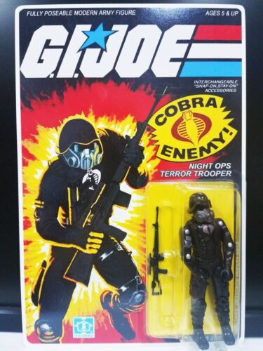 NEW G.I.JOE BLACK MAJOR CUSTOM NIGHT OPS TERROR TROOPER MOC.