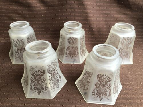 """**** 4 1//4/"""" VINTAGE ART NOUVEAU VICTORIAN FROSTY//CLEAR GLASS LAMP SHADE # 3 ****"""